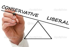 Drawing a scale of conservative versus liberal.